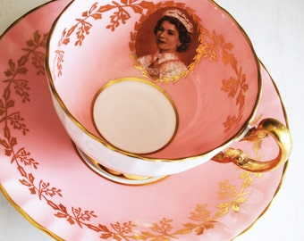Aynsley Queen Elizabeth Teacup and Saucer / Pink Tea Cup / Vintage Teacup