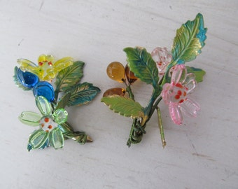 Rare Glass Flowers And Enameld Leave Bouquet