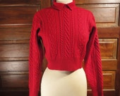 Red Cable Knit Cropped 1980s Sweater Crop Top