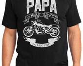 Papa The Legend Motorcycle Men's T-shirt Short Sleeve 100% Cotton S-2XL Great Gift (T-DA-22)