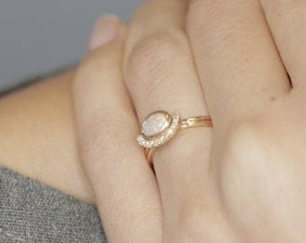 Solid Gold Opal Engagement Ring, 14K Gold White Opal and Diamond Bridal Wedding Set - 0.07 Carat Round Diamonds.