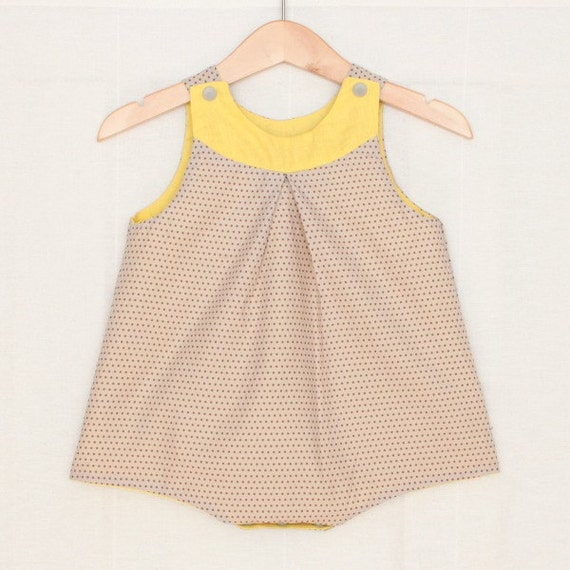 Retro baby girl romper in light grey polka dots and bright yellow | Vintage design for baby girl | Lemon dungarees | Baby girl gift