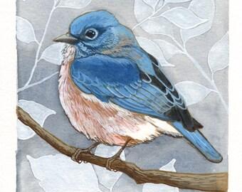 Bluebird Original Watercolor Painting - Bird Wall Art - Woodland Home Decor 5x7