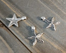 Pewter Starfish Charm or Pendant, 18mm, Mykonos Pewter Casting DIY Jewelry Supplies, Handmade Jewlery Components