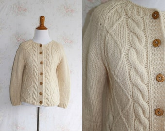 Vintage 60s Wool Cardigan, 1960s Fisherman Knit Sweater, Cable Knit