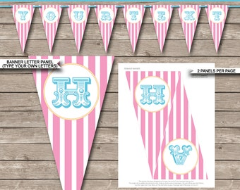 Girls Carnival Party Banner - Circus Party - Happy Birthday Banner - Custom Banner - Party Decoration -  INSTANT DOWNLOAD with EDITABLE text