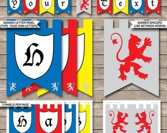 Knight Party Banner - Happy Birthday Banner - Custom Banner - Party Decorations - Bunting - INSTANT DOWNLOAD with EDITABLE text