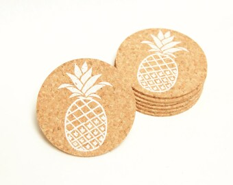Pineapple coaster set - 6 cork coasters