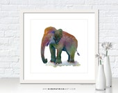 ELEPHANT Watercolor Art, Elephant Print, Elephant Greeting Cards, Elephant Original Painting, Elephant Wall Decor, All Dressed Up