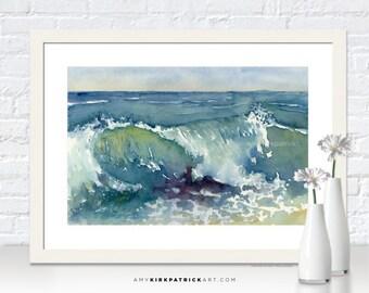 Ocean WAVE Painting, Beach Art Print, Wave Greeting Cards, Wave Original Watercolor Painting, Beach Wall Decor, Beach Wall Art, Shore Break