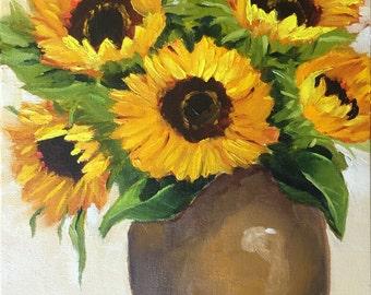 SALE Original oil painting:  Warm Sunflower Bouquet ,floral, still life, canvas , home decor, fine art