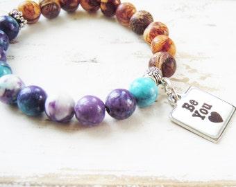 Inspirational Beaded Stretch Bracelet Affirmation Be You