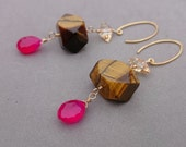 Reserved Tiger's Eye Earrings with Hot Pink Chalcedony, Swarovski Crystal and Gold Fill