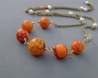 Reserved Long Orange Necklace - Freshwater Pearl Necklace with Howlite, Czech Glass and Brass