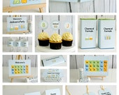 Editable Science Party Pack and Invite - Instant Download Printable Templates - Fill in Text and Print at home .. ms01
