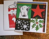 Bull Terrier Bull Terrier Pop Christmas Card Star Holly Snowflakes Pack of Five