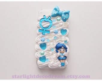 Sailor Mercury Blue Bubbles Sweets n' Cream iPhone 5S Deco Decoden Case for Kawaii Fairy Kei or Cute Style