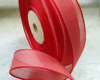 "5/8"" Vintage European Silky Sheer Red Ribbon Trim, ribbonworks, bows, doll,"