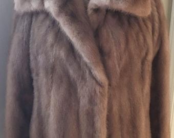 1960's Blond Mink Fur Coat with Shawl Collar I. Magnin San Francisco