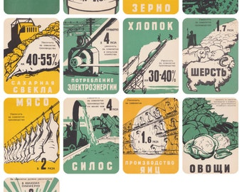 Rare! 1959-1965: Communist Party National Economy Plan (What Should be Done). Complete Set of 12 Postcards in original cover-1959. Cond 9/10