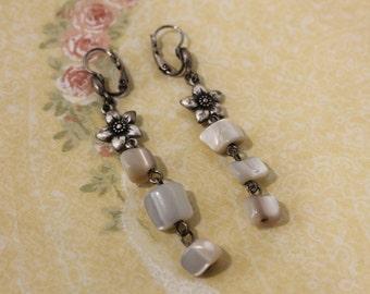 Nice Glass / Shell With Silver Flower Dangle Earrings - Pierced