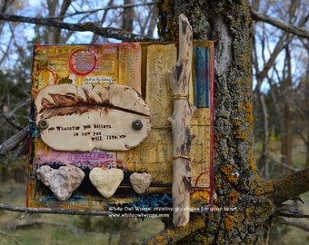 Feather Art, Clay Feather, Heart Rocks, Nature Art, Mixed Media Collage by Jodene Shaw