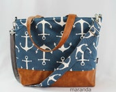 Extra Large Lulu Tote Messenger Diaper Navy Anchors with PU Vegan Leather Messenger strap - Beach Travel Tote
