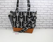 Lulu Large Tote Messenger Diaper Bag Black Arrows and PU Leather with Grey Lining- READY to SHIP 6 pockets Nappy Bag Attach to Stroller