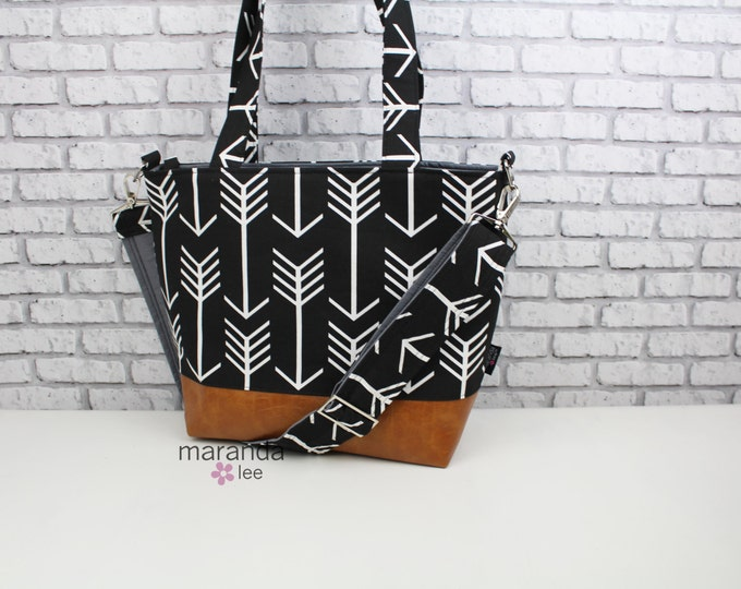 Lulu Large Tote Messenger Diaper Bag Black Arrows - READY to SHIP