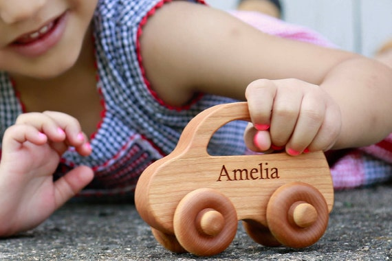 natural LOVE BUG car - a personalized wooden toy handcrafted with sustainable hardwoods, waldorf baby and toddler, organically finished