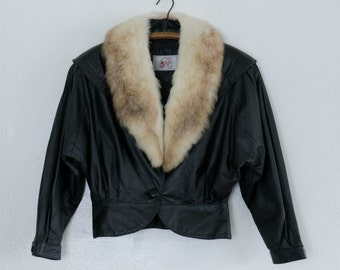 fur and leather jacket - S/M