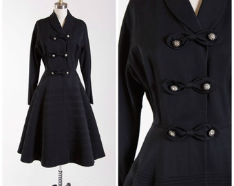 Vintage 1950s Coat • Gabardine Queen • Black with Rhinestone Buttons 50s Vintage Princess Coat Size Small