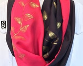 Silk Infinity Scarf Hand Painted, Gift for her, Reversible Silk Scarf Red and Black, Golden Vine Leaves Scarf, 14x72 inches loop.