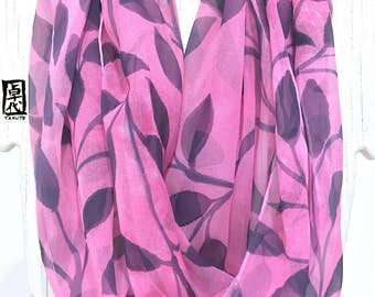 Silk Scarf Hand painted, Silk Infinity Scarf, Pink Circle Scarf, Pink, Navy, Black Vine Leaves Scarf, Chiffon Scarf, Takuyo, 14x72 in Loop