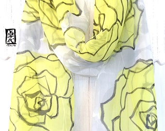 Boho Fashion Scarf, Yellow, Gray, Black, Spring Floral Scarf, ETSY, Handpainted Scarf, Yellow and Gray Roses, Chiffon, Takuyo, 11x60 inches.