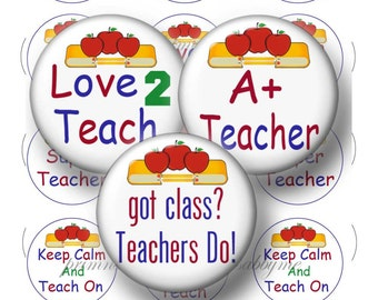"""Teacher, 1.629"""" Circles, Digital Collage Sheet, 1.25 inch Button Machine, Instant Download, Button, Magnets, Pins, Badges, Flat Back No.1w"""