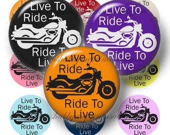Motorcycle, Bottle Cap Images, 1 Inch Circles, Digital Collage Sheet, Live To Ride, Saying, Biker, For Magnets, Cabochon, Jewelry, Pendants