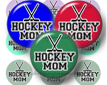 Hockey Mom, 1 Inch Circles, Digital Collage Sheet, Bottle Cap Images, Instant Digital Download (No.1)  For Pendants, Key Rings,