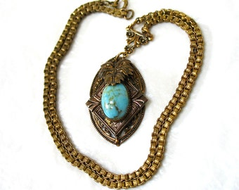 1910's ANTIQUE Art Nouveau Victorian Necklace with Turquoise Glass Cab, heavy box chain, book chain, Gift Idea, Excellent