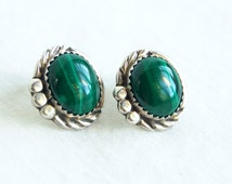 Malachite Post Earrings Vintage Southwestern Posts Studs Sterling Silver Native American Jewelry