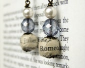 Romeo and Juliet, book page, lilac glass and pearl bead earrings