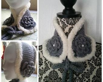 Medium / Large Gray Color Handkint Kids / Adult Neck Warmer, Ear Warmer M/L