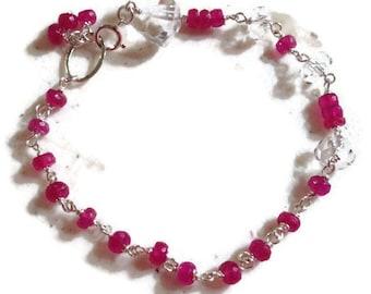 Ruby Bracelet - Clear Crystal Quartz Jewelry - Sterling Silver Jewelry - Gemstone - Mod - Red - Glam