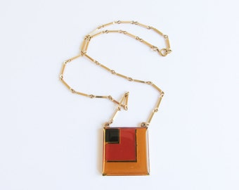 Sarah Coventry Front Row Necklace / Vintage / Rectangle / Square / Colorful / Bib Necklace