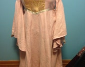 Pink Suede Cloth and Brocade Elven Medieval gown READY TO SHIP women's size 20-22