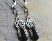 Assemblage earrings black onyx and sterling earrings vintage deco earrings black jewelry assemblage jewelry F313-by French Feather Designs.