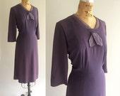 Vintage 1930s Purple Crepe Rayon Dress Long Sleeve Two Tone Scarf