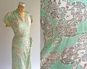 Vintage 1940s Printed Silk Town Scene Spades & Clubs Green Ruffle Damaged