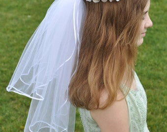 First Communion Veil, Flower Girl Headpiece, Handmade Wreath made with Blush Hydrangea and Sweet Pea Blossoms on Floral Crown