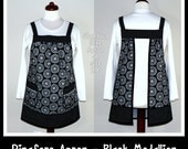 Pinafore Apron (loose-fitting, no-tie-apron) - Black Medallion, made-to-order in 3 sizes